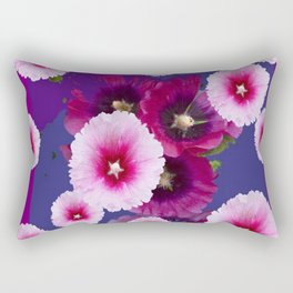 PURPLE PINK HOLLYHOCKS MODERN ART Rectangular Pillow