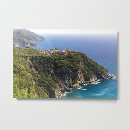 Town on a Cliff at Seaside, Corniglia, Cinque Terre, Liguria, Italy Metal Print