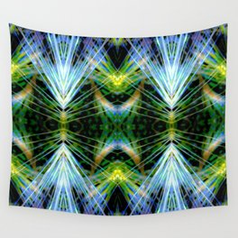 Blue Green Bright Rays,Fractal Art Wall Tapestry