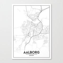 Minimal City Maps - Map Of Aalborg, Denmark. Canvas Print