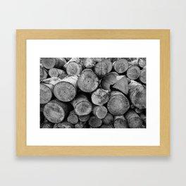 Pile of chopped firewood Framed Art Print