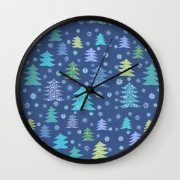 Winter Christmas Trees and Snowflakes in Purple, Blue and Green Wall Clock