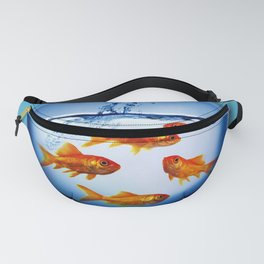 Gold Fish Bowl Woman Surreal Fanny Pack