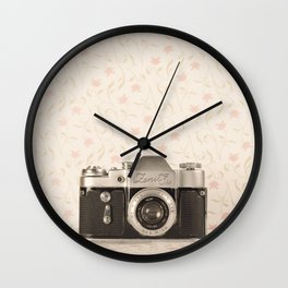 Zenit 3 Camera Film on Pink Flower Background Pearls on Book ( Vintage Still Life Photography)  Wall Clock