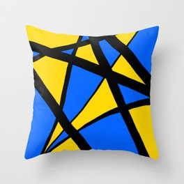 Yellow and Blue Triangles Abstract Throw Pillow