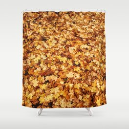Gold yellow fall maple leaves Shower Curtain