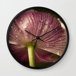 Purple Papaver Somniferum Poppy Raindrops II Wall Clock