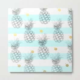 Pineapple express - aqua stripe gold splat Metal Print