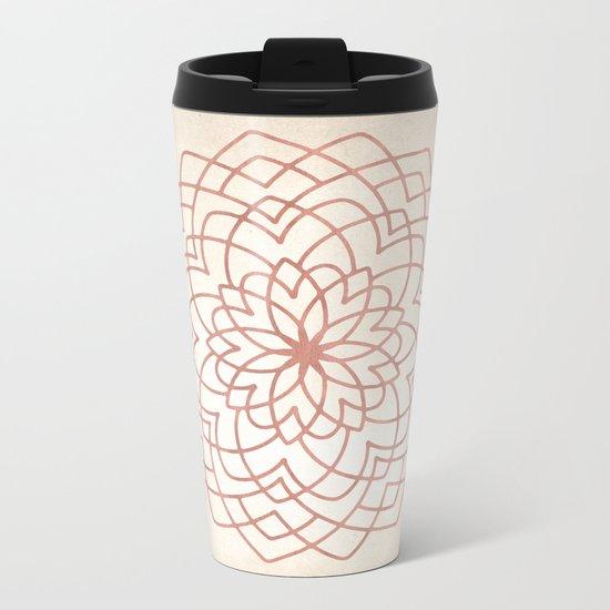 Mandala Floral Geometry Rose Gold on Cream Metal Travel Mug