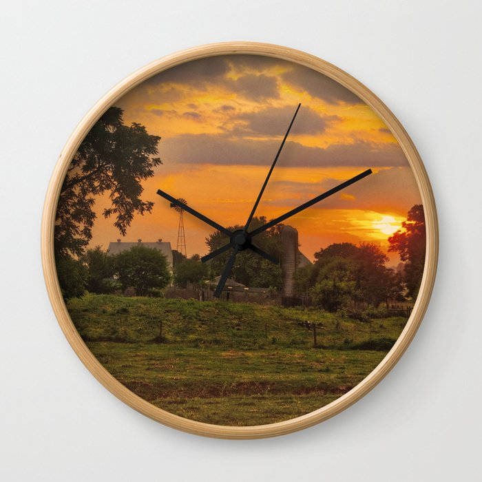 1296 - June Sunset (texture edit) Wall Clock