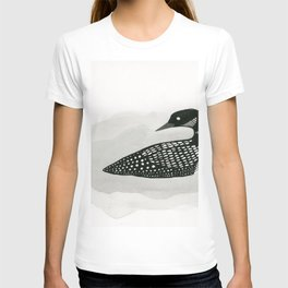 Loon - black and white bird illustration T-shirt