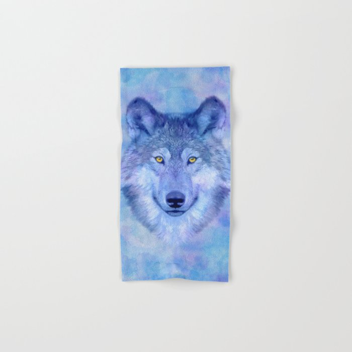 Sky blue wolf with Golden eyes Hand & Bath Towel