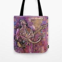 prince Tote Bags featuring Prince by Ray Stephenson