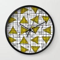 yellow pattern Wall Clocks featuring Yellow by Ivano Nazeri