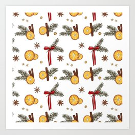Christmas oranges Art Print