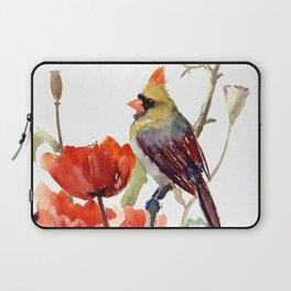Cardinal Bird And Poppy Flowers Laptop Sleeve