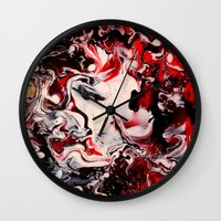 mad hatter Wall Clocks featuring Mad Hatter by justforspiteandmalicedesigns