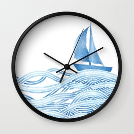 Blue sailboat, watercolor nautical ocean waves sea Wall Clock