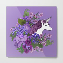 Unicorn in a Purple Garden Metal Print
