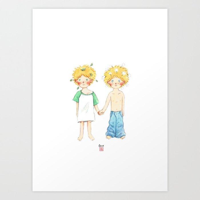 Little twin boy Art Print