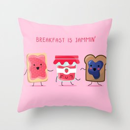 Breakfast Is Jammin' Throw Pillow