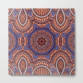 Blue & Brown Boho Geometric Pattern Metal Print