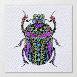 Egyptian Scarab Beetle - Silver & color metallic Canvas Print