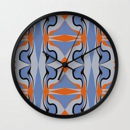 Blue Squeeze With Orange Diamonds Wall Clock