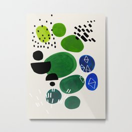Fun Abstract Minimalist Mid Century Modern Colorful Shapes Lime Green Blue Watercolor Bubbles Metal Print
