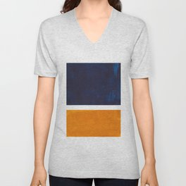 Navy Blue Yellow Ochre Abstract Minimalist Rothko Colorful Mid Century Color Block Pattern Unisex V-Neck