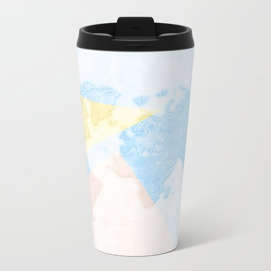 World Map Light Metal Travel Mug