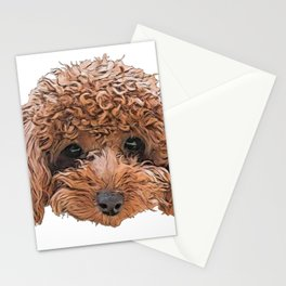 Dog Toy Poodle Barbet confusing autumn bush bust Stationery Cards
