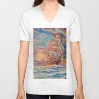 ship V-neck T-shirts featuring Ship by Kali Koltz