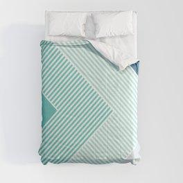 Teal Vibes - Geometric Triangle Stripes Comforters