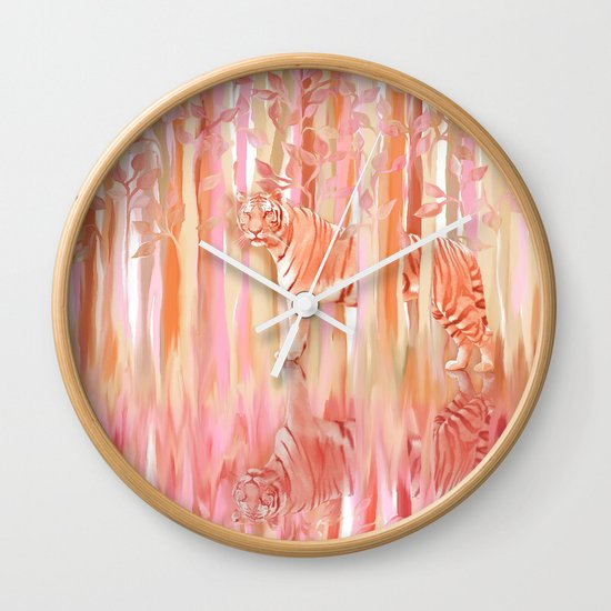 Tiger in the Trees - Painting / Collage Wall Clock