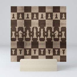 Chess Pieces Pattern - wooden texture Mini Art Print