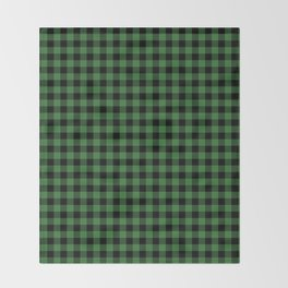 Classic Green Country Cottage Summer Buffalo Plaid Throw Blanket