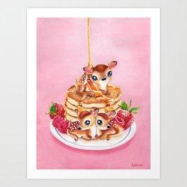 Three Pancake Deer Art Print