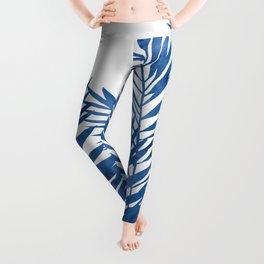 Palm Leaves Dark Blue Leggings