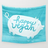 vegan Wall Tapestries featuring Happy Vegan by Anke Weckmann