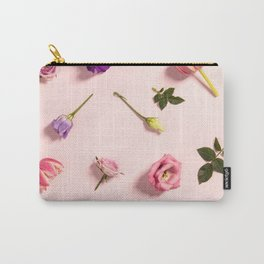 Floral pattern with pink tulips, flowers and leaves Carry-All Pouch