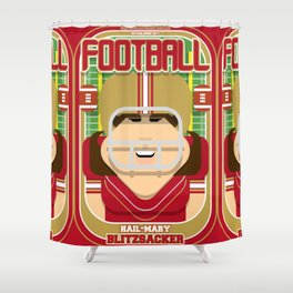 American Football Red and Gold - Hail-Mary Blitzsacker - June version Shower Curtain