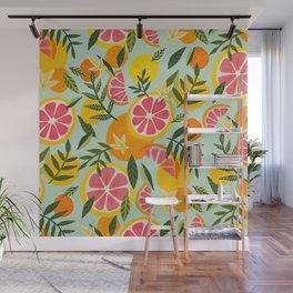 Grapefruit Blooms – Mint Palette Wall Mural