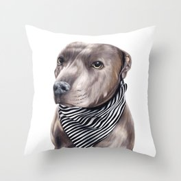 Blue Staffordshire Bull Terrier Throw Pillow