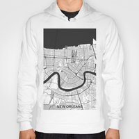 new orleans Hoodies featuring New Orleans Map Gray by City Art Posters