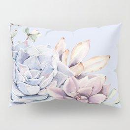 Pristine Blue Succulents Pillow Sham