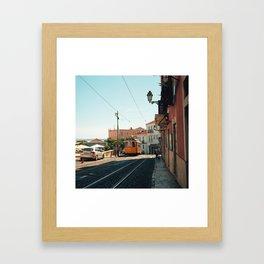 Lisbon yellow tram, Portugal Analog 6x6 Kodal Ektar 100 (RR 167) Framed Art Print