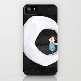 Girl on the Moon iPhone Case