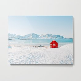 Red cabin on the beach with snow in the Lofoten Islands, Norway Metal Print