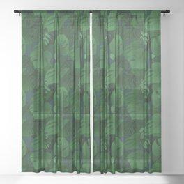 Monstera (Jungle) - Emerald x Teal Sheer Curtain